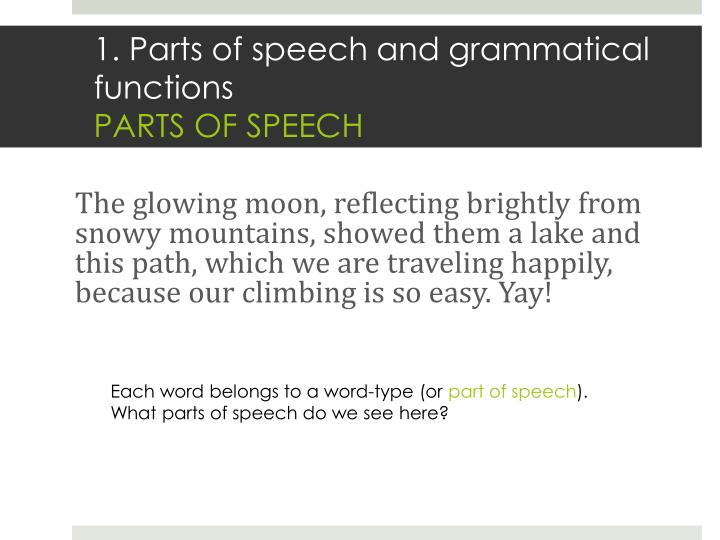 1 parts of speech and grammatical functions parts of speech