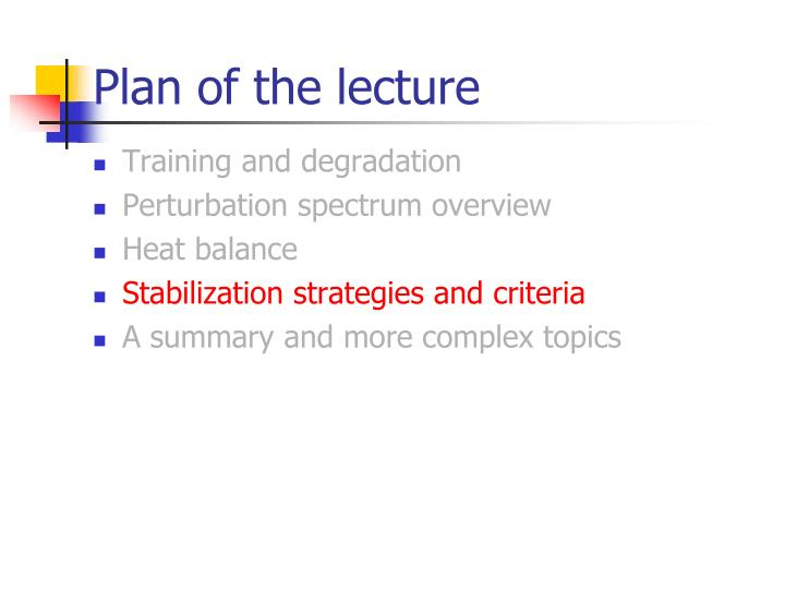 Plan of the lecture