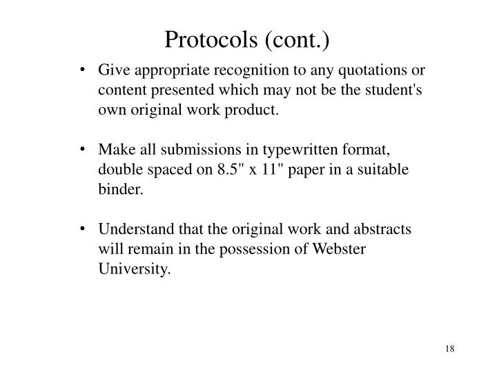 Protocols (cont.)