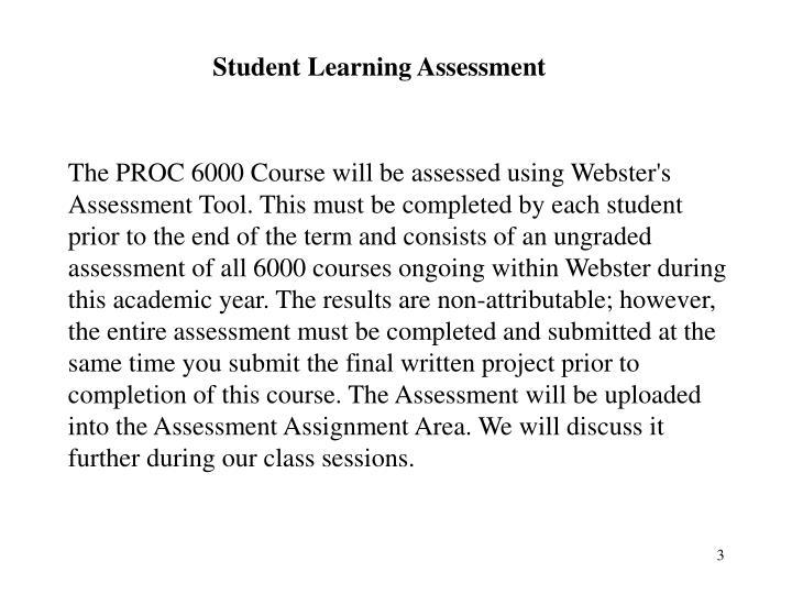 Student Learning Assessment