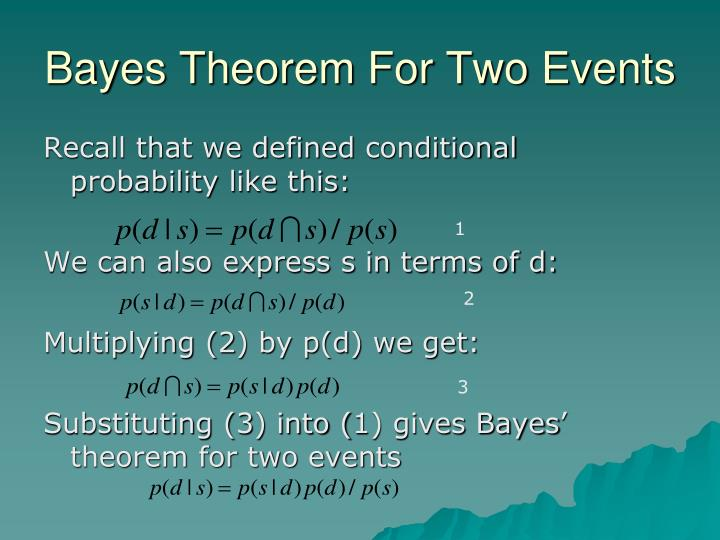 Bayes Theorem For Two Events