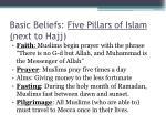 basic beliefs five pillars of islam next to hajj