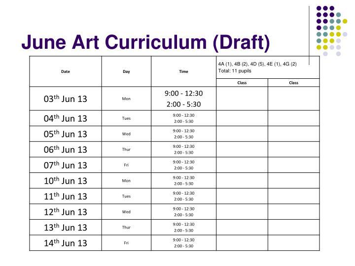 June Art Curriculum (Draft)
