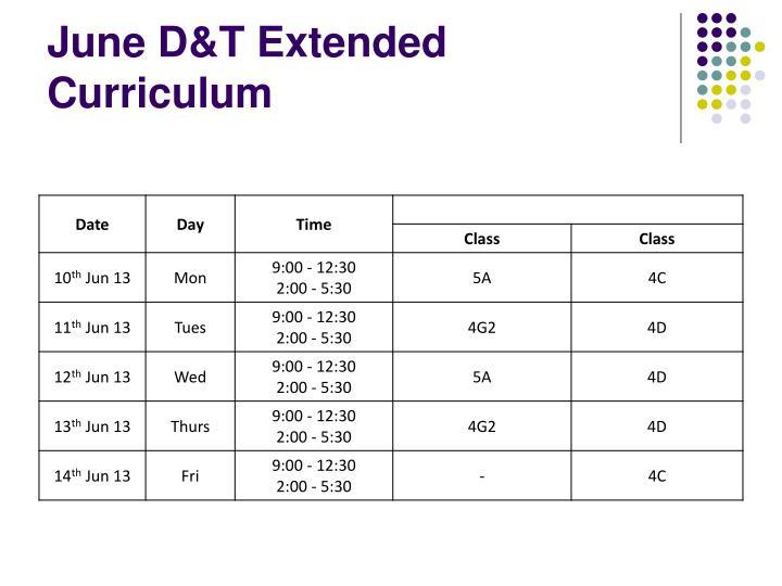 June D&T Extended Curriculum