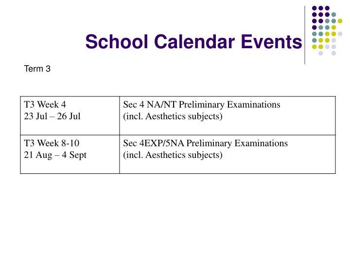 School Calendar Events