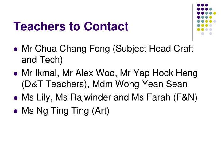 Teachers to Contact
