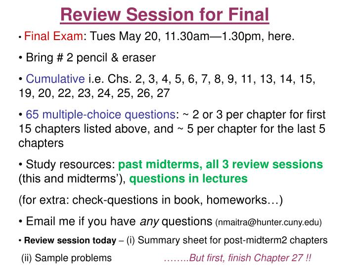 review session for final n.