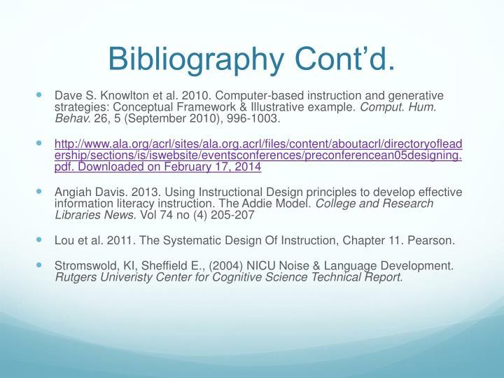 Bibliography Cont'd.