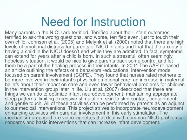 Need for instruction