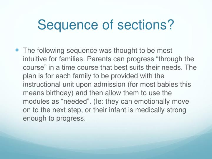 Sequence of sections?