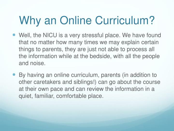 Why an Online Curriculum?