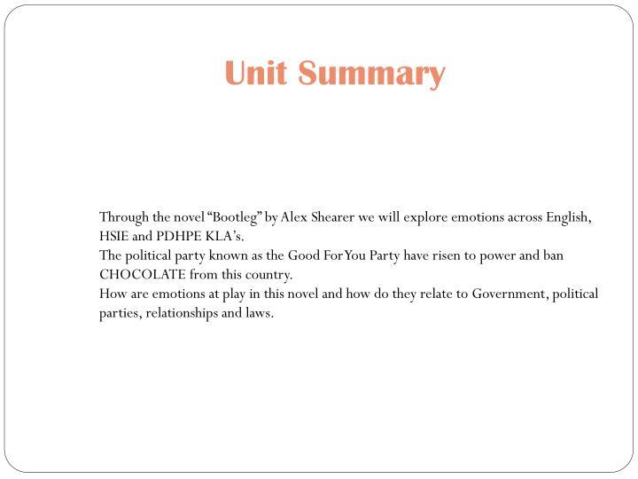 Unit summary