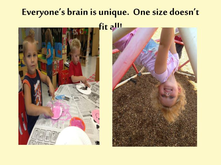Everyone's brain is unique.  One size doesn't fit all!