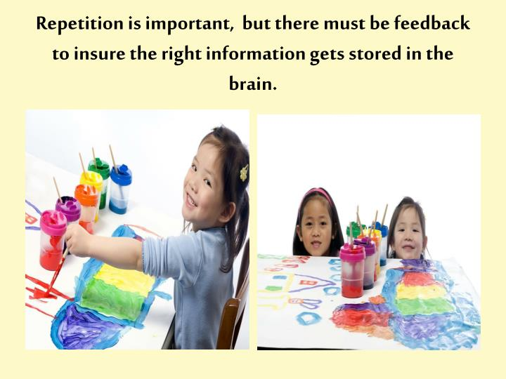Repetition is important,  but there must be feedback to insure the right information gets stored in the brain.