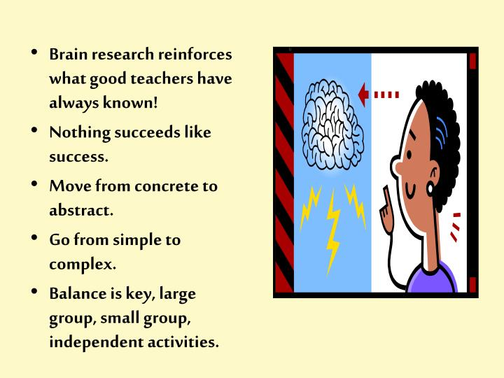 Brain research reinforces what good teachers have always known!