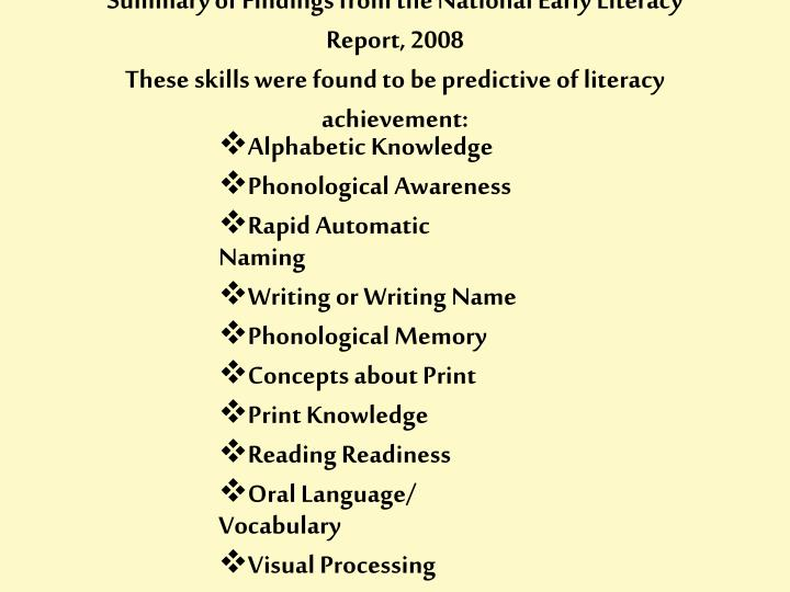 Summary of Findings from the National Early Literacy Report, 2008