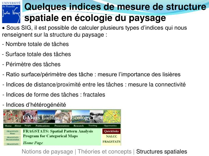 Quelques indices de mesure de structure spatiale en écologie du paysage