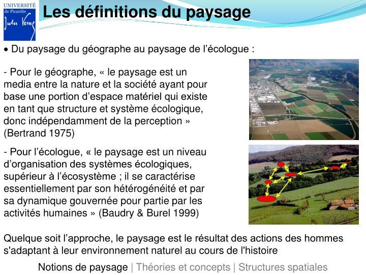 Les définitions du paysage
