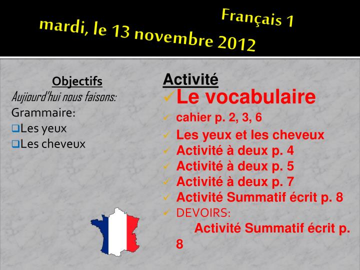 Fran ais 1 mardi le 13 novembre 2012