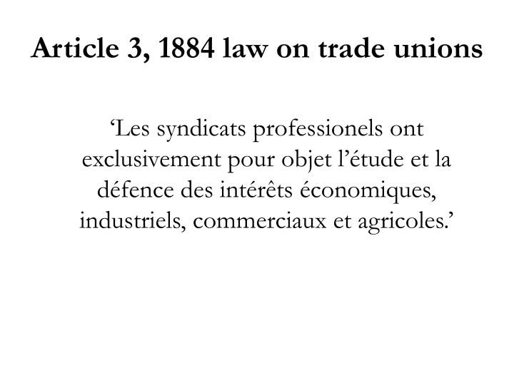 Article 3, 1884 law on trade unions