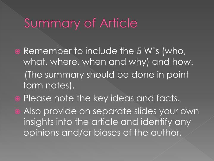 Summary of article