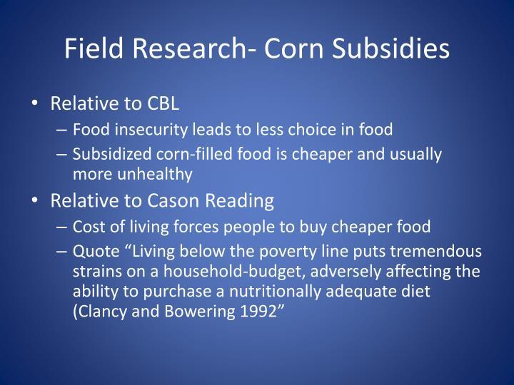 Field Research- Corn Subsidies