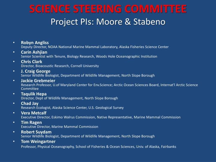 SCIENCE STEERING COMMITTEE