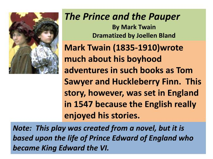 essays on the prince and the pauper The prince and the pauper: summary 1 discuss the significance of the title the title of this book is important because it gives a reference on.