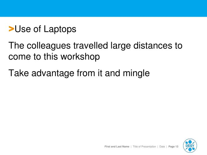 Use of Laptops