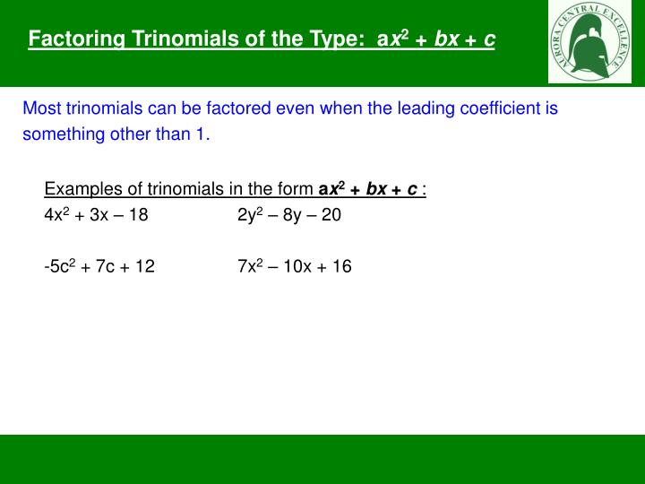 Factoring Trinomials Of The Form Ax2 Bx C Pinephandshakeappco. Factoring Trinomials Of The Form Ax2 Bx C Ppt Type A X 2 Powerpoint. Worksheet. Factoring Trinomials Of The Form Ax2 Bx C Worksheet Answers At Mspartners.co