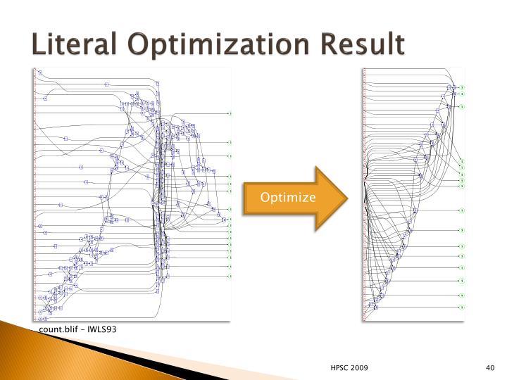 Literal Optimization Result