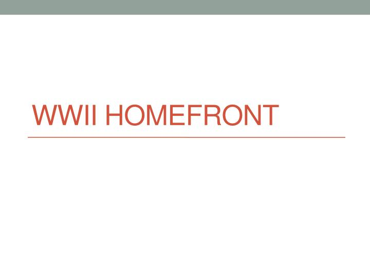 wwii homefront n.