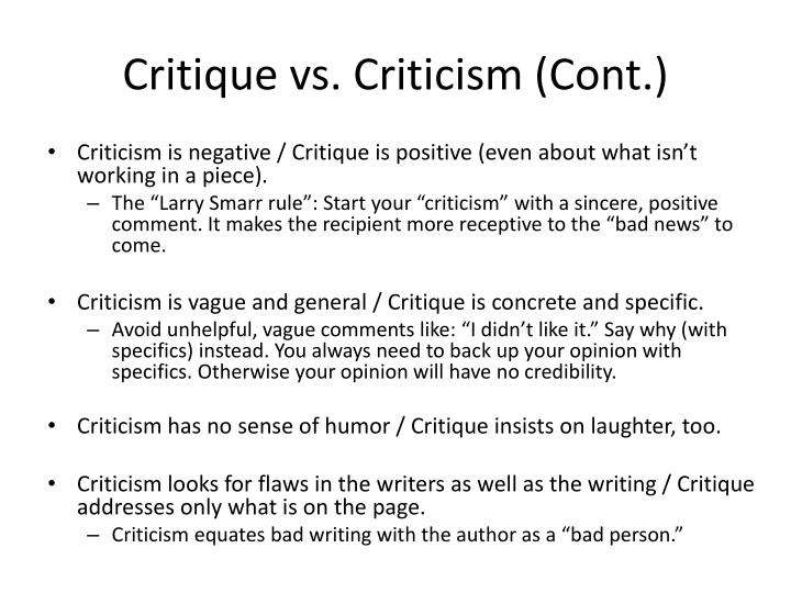 difference between critique and criticism