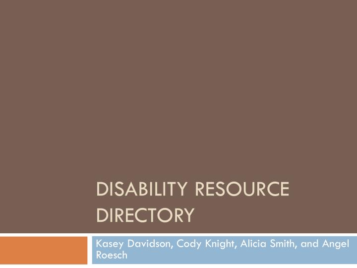 disability resource directory n.