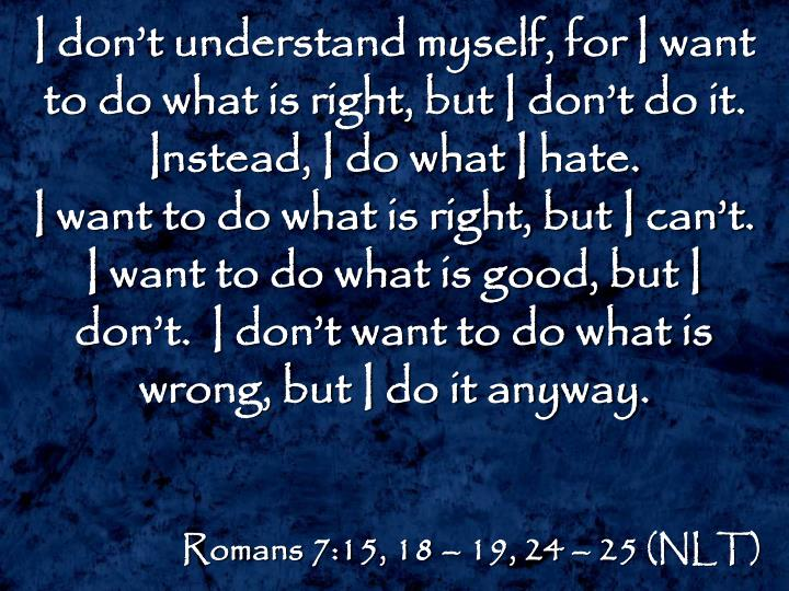 I don't understand myself, for I want to do what is right, but I don't do it.  Instead, I do what I