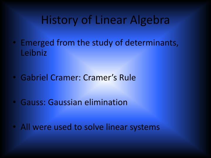 History of linear algebra