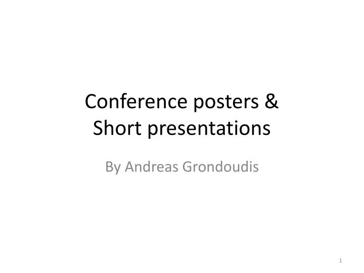 conference posters short presentations n.