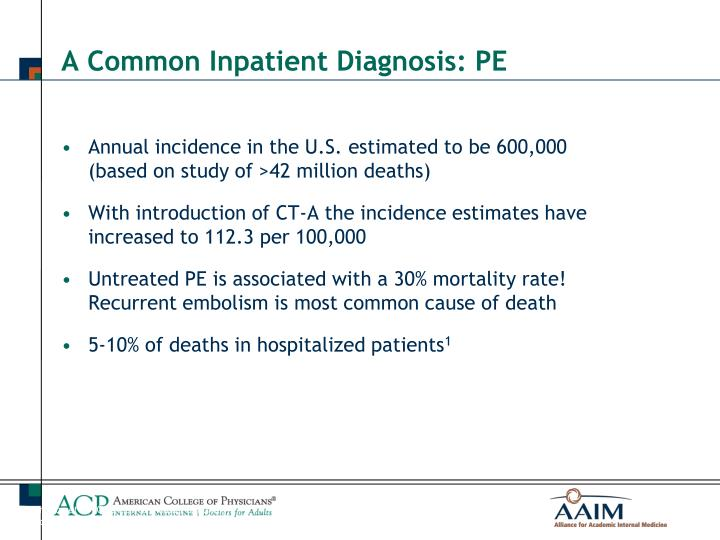 Annual incidence in the U.S. estimated to be 600,000 (based on study of >42 million deaths)