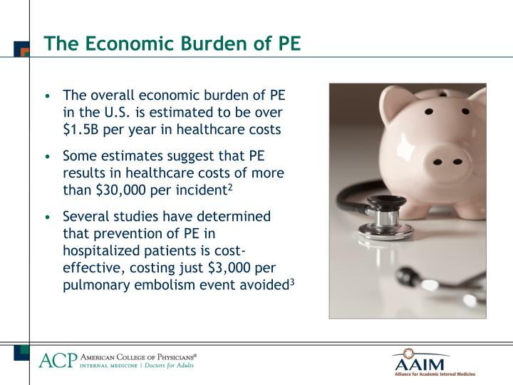The overall economic burden of PE in the U.S. is estimated to be over $1.5B per year in healthcare costs