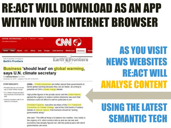 RE:ACT WILL DOWNLOAD AS AN APP WITHIN YOUR INTERNET BROWSER