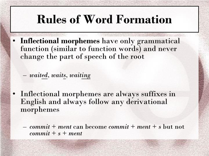 Rules of Word Formation