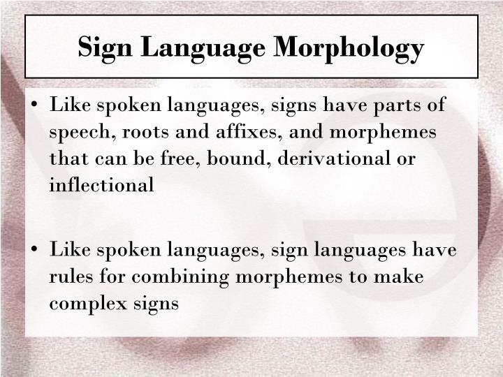 Sign Language Morphology