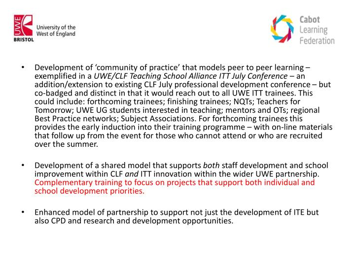Development of 'community of practice' that models peer to peer learning – exemplified in a