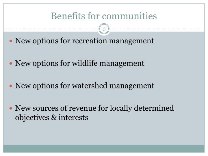 Benefits for communities