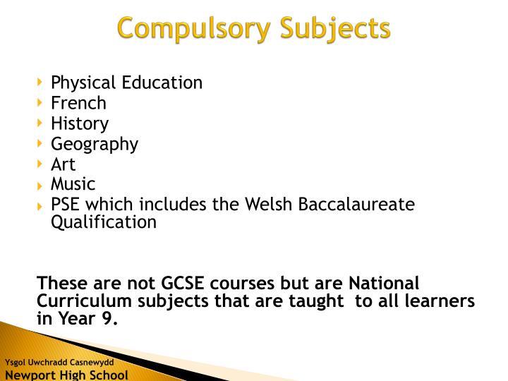 Compulsory subjects