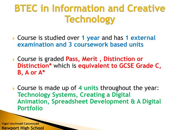 BTEC in Information and Creative Technology