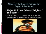 what are the four theories of the origin of the state