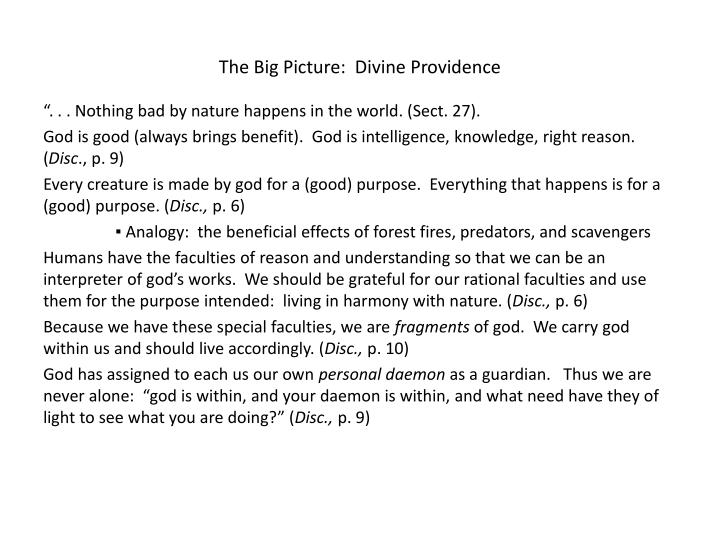 The Big Picture:  Divine Providence