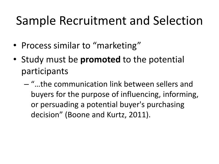 Sample Recruitment and Selection