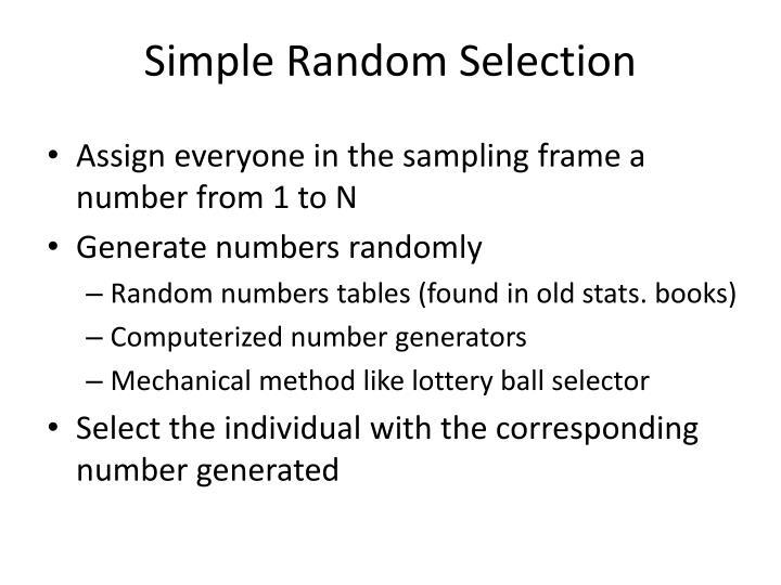 Simple Random Selection